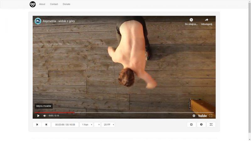 Fajnie, że można przeklatkować również filmy wrzucone na youtube. Za ten pomysł daję twórcom strony wielkiego plusa. Ćwiczenia na gumach.